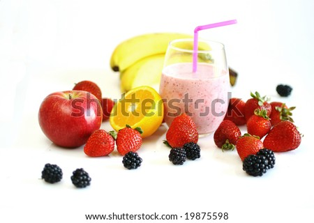 Fresh fruits and smoothie