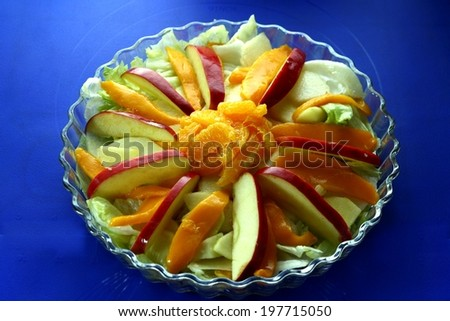 Fresh fruits and vegetable salad Photo of fresh fruits and vegetable salad