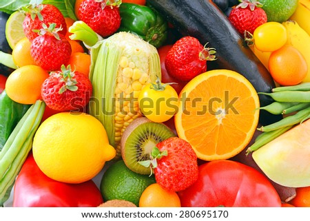 Fresh fruits and vegetables - Shutterstock ID 280695170