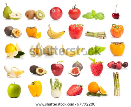 Fresh fruits and vegetables collection on white background