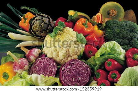 Fresh Fruits And Vegetables,Fruits And Vegetables Like Tomatoes, Zucchini, Melons, Pepper And Cabbage Arranged In A Group, Natural Still Life For Healthy Food