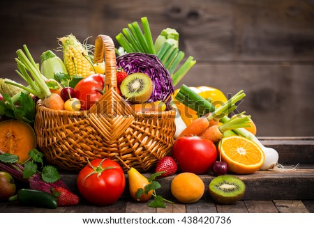 Shutterstock Fresh fruits and vegetables in the basket