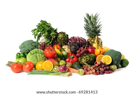 Fresh fruits and vegetables isolated over white background