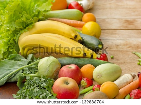 Fresh fruits and vegetables - organic food (healthy food)