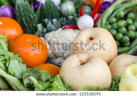 Fresh fruits and vegetables.  Organic healthy vegetables and fruits