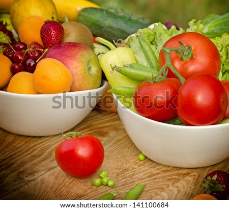 Fresh fruits and vegetables - raw food (organic food)