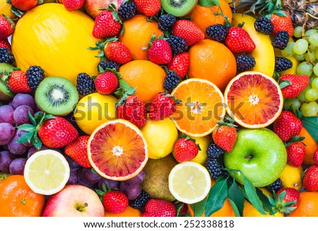 Fresh fruits.Assorted fruits colorful background. - Shutterstock ID 252338818