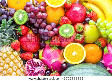Fresh fruits.Assorted fruits colorful,clean eating,Fruit background Foto d'archivio ©
