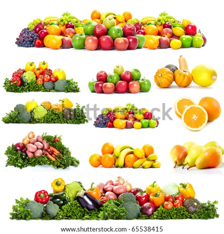 Fresh fruits: banana, orange, apple, grape, peach, lemon, lime. Isolated over white background