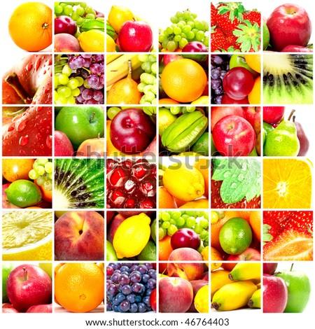 Fresh fruits: banana, orange, apple, grape, peach, lemon, lime, strawberry, kiwi