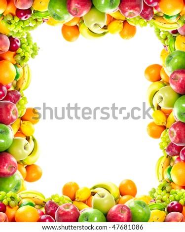 Fresh fruits: banana, orange, apple, grape, peach, lemon, lime, strawberry, kiwi, frame