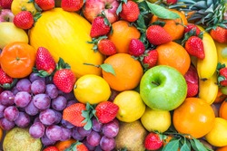 Fresh fruits colorful background.