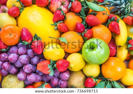 Fresh fruits colorful background.