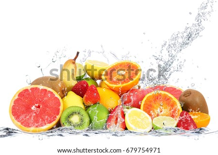 fresh fruits falling in water #679754971