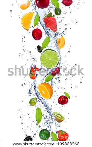Fresh fruits falling in water splash, isolated on white background [best for web resolution]]