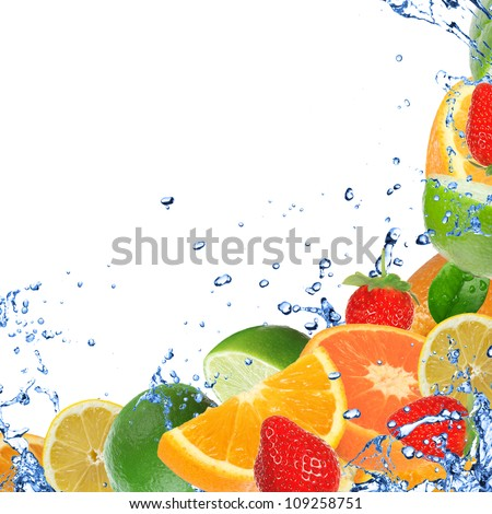 Fresh fruits in water splash, isolated on white background - stock photo