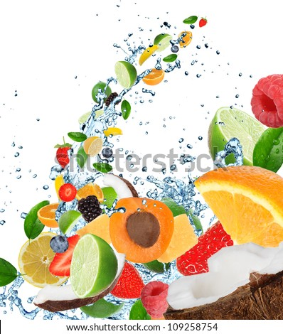 Fresh fruits in water splash, isolated on white background