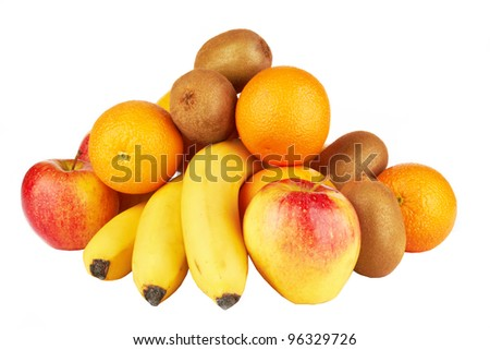 Fresh fruits isolated on a white .