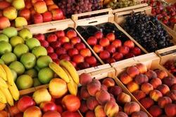 fresh fruits on a market