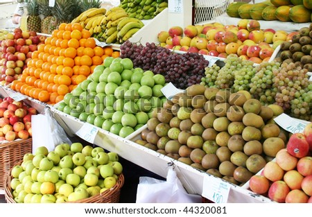 fresh fruits on a traditional market