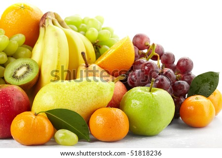 fresh fruits on the white background