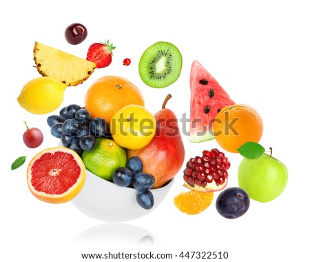 Fresh fruits on white background. Food concept #447322510