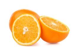 Fresh fruits: Oranges isolated on the white background, macro close up