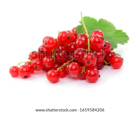 Fresh fruits, red currants with leafs, isolated Foto stock ©