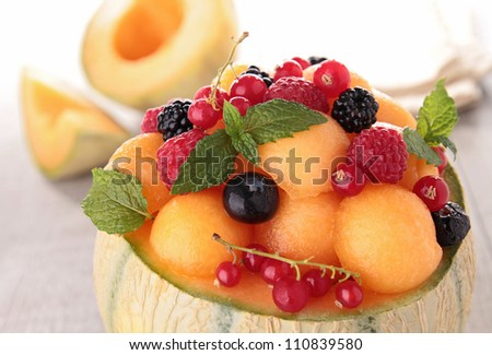 fresh fruits salad and berries
