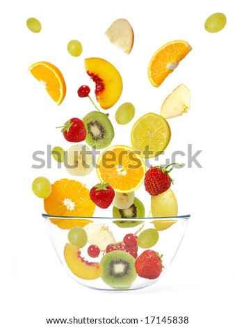 Fresh fruits salad isolated on a white background