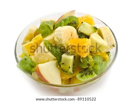 Fresh fruits salad  isolated on white background