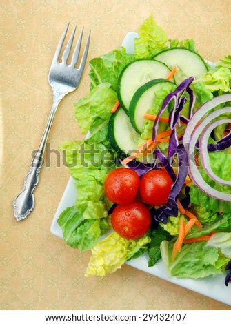 Fresh garden salad with tomatoes, lettuce, cucumbers and onions on a square white plate with a fork.