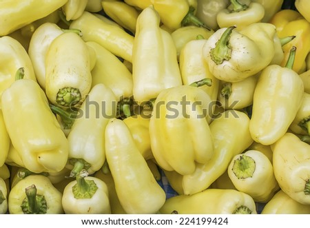 Fresh garden yellow paprika at a farmers\' market in Budapest, Hungary