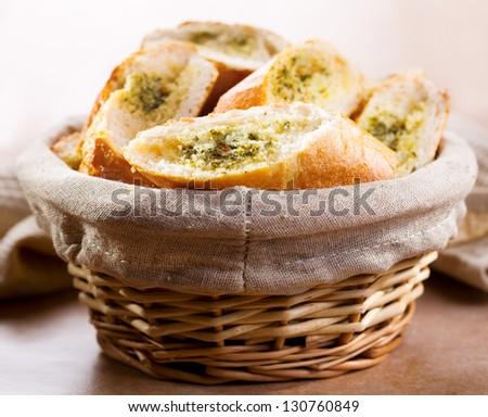 fresh garlic bread with herbs
