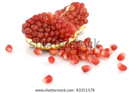 fresh garnet isolated on white