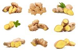 fresh ginger on white background