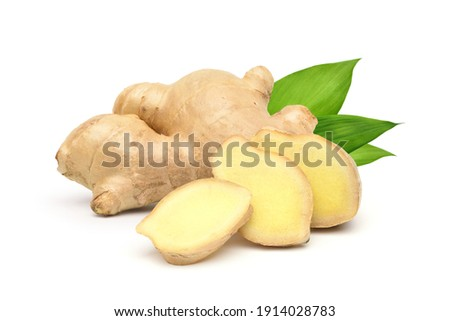 Fresh ginger rhizome with sliced and green leaves isolated on white background. Photo stock ©