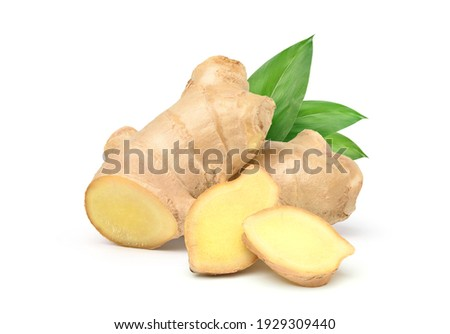 Fresh ginger rhizome with sliced and green leaves isolated on white background. Foto d'archivio ©