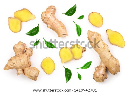 fresh Ginger root and slice isolated on white background. Top view. Flat lay Foto d'archivio ©