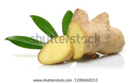 Fresh ginger root with leaves isolated on white background