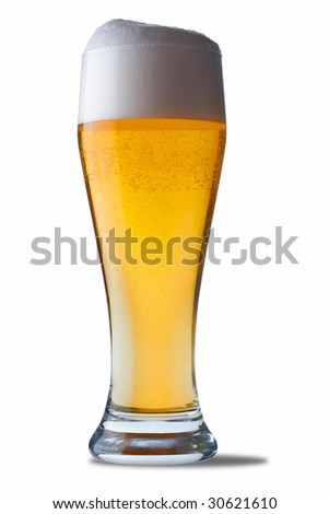 Fresh glass of beer. The file includes a clipping path.