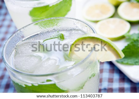 fresh glass of water with mint and lemon
