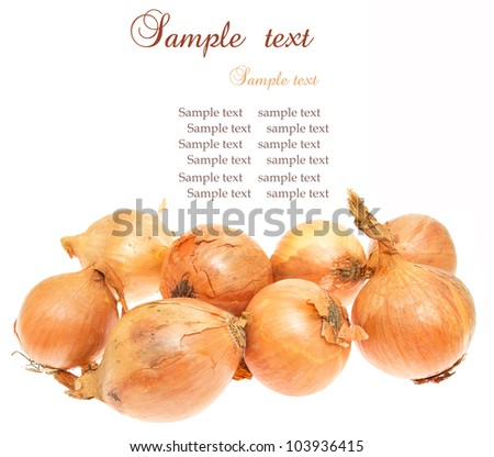 Fresh golden onions, isolated on white background.