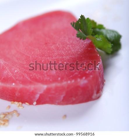 Fresh good tuna meat at white background