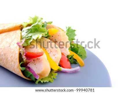 Fresh gourmet burrito with raw salad and smoked chiken on a blue plate with plenty of copyspace