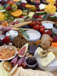 Fresh gourmet cheese and antipasto platter, grazing board, entertaining, background image