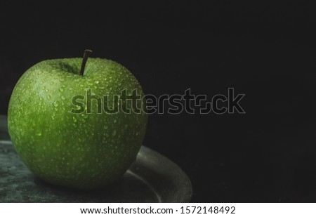 Fresh granny smith apple isolate. Vertical image. Food concept