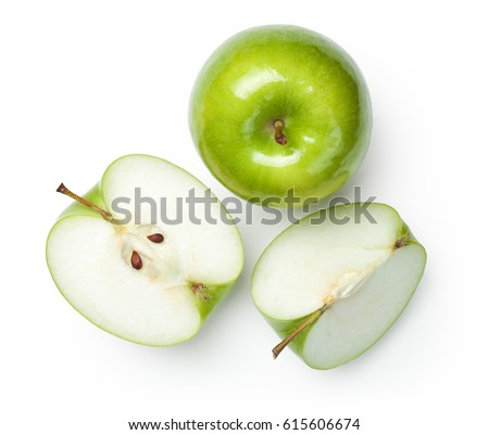 Fresh granny smith apples on white background. Top view #615606674