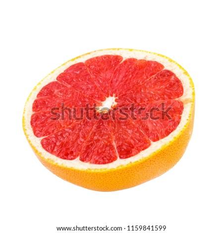 Fresh Grapefruit citrus fruit with half slice isolated on white #1159841599