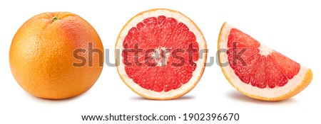 Fresh grapefruit fruit. Grapefruit isolated on white background. Collection grapefruit with clipping path. ストックフォト ©